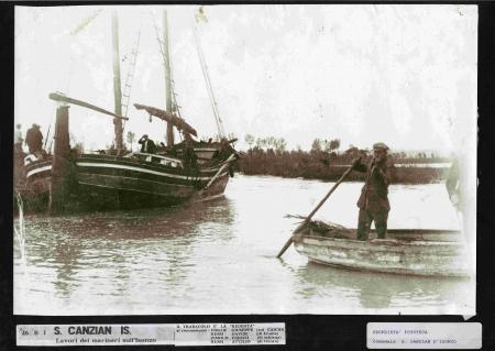 Lavori dei marineri sull'Isonzo